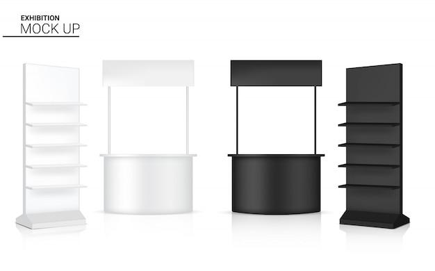 3d-realistische kiosk display pop-stand en plank te koop marketing promotie tentoonstelling illustratie Premium Vector