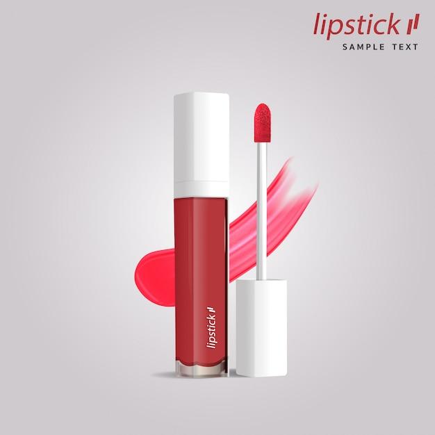 3d-realistische lippenstift buis sjabloon verpakking. Premium Vector