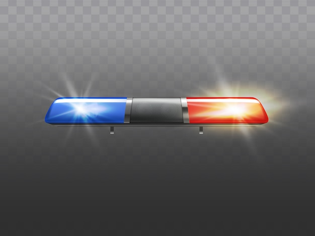 3d-realistische rode en blauwe flitser voor politie-auto. signaal van ambulance of andere gemeentelijke dienst Gratis Vector