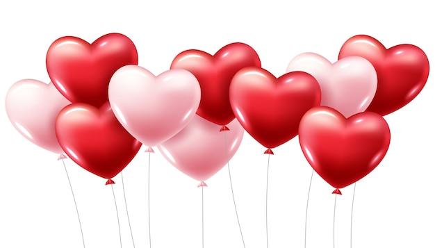 3d-realistische rood hart ballonnen vliegen Gratis Vector