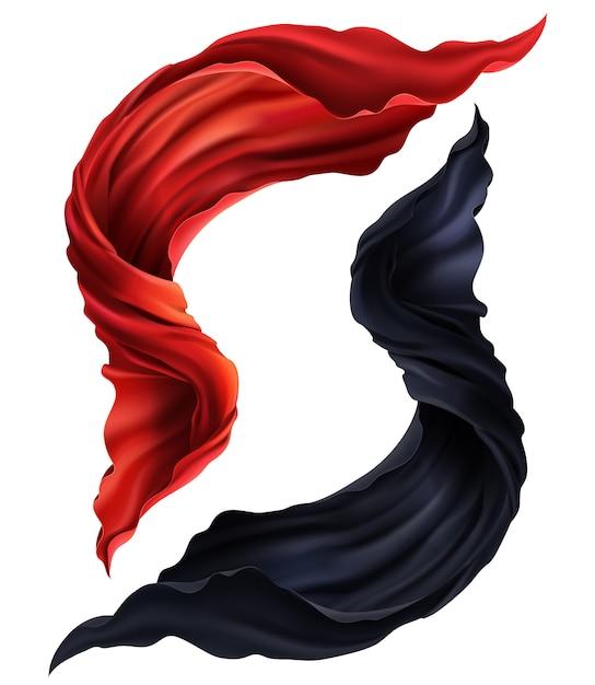 3d-realistische set vliegende rode en zwarte zijde stof. twee stukken van stromende satijnen doek geïsoleerd Gratis Vector