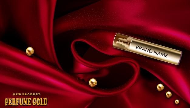 3d-realistische sjabloon van parfumfles goud op rode zijde Premium Vector