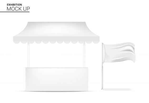 3d realistische standvertoning pop voor winkelverkoop marketing bevorderingstentoonstelling met van het vlagbannermalplaatje illustratie als achtergrond Premium Vector