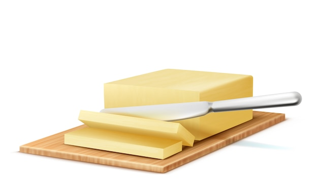 3d-realistische stukje boter met metalen mes op houten dienblad. Gratis Vector