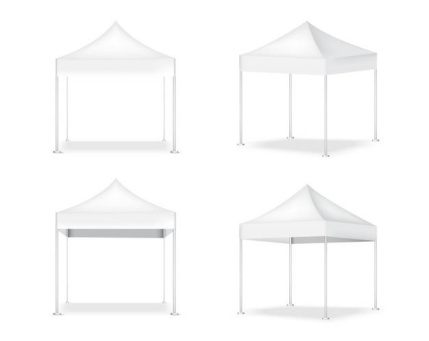 3d realistische tent display pop booth te koop marketing promotie tentoonstelling illustratie Premium Vector