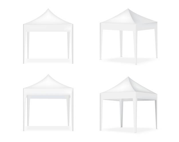 3d realistische tentvertoning pop-cabine te koop marketing promotie tentoonstelling achtergrond illustratie Premium Vector