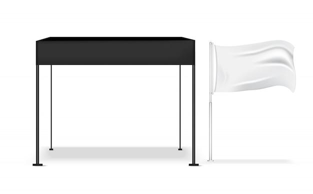3d realistische tentvertoning pop-cabine voor winkelverkoop marketingbevorderingstentoonstelling met metalen en vlagmalplaatje achtergrondillustratie Premium Vector
