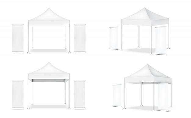 3d-realistische tentweergave pop-cabine en oprollen. banner voor verkoop marketing promotie tentoonstelling illustratie Premium Vector