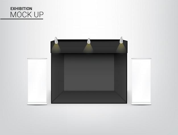 3d-realistische tentweergave pop-stand voor shop Premium Vector