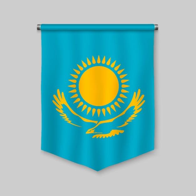 3d-realistische wimpel met vlag van kazachstan Premium Vector