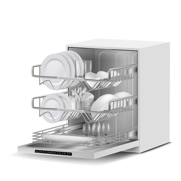 3d-realistische witte vaatwasser machine met drie metalen rekken, gevuld met schone borden, glas Gratis Vector