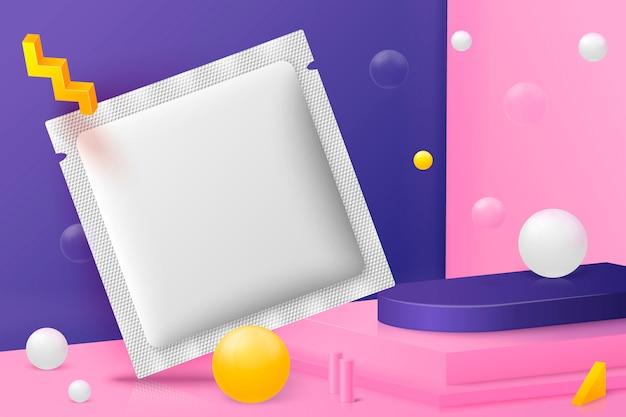 3d-realistische zakje abstracte scène zakje, podium en roze, witte en paarse ballen en objecten. Premium Vector