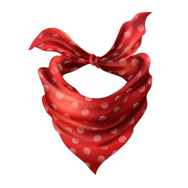 3d-realistische zijde rode sjaal. stoffen doek met gestippelde halsdoek. scarlet bandana Gratis Vector