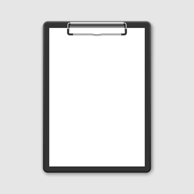 3d-realistische zwarte klembord met lege witte blad Premium Vector