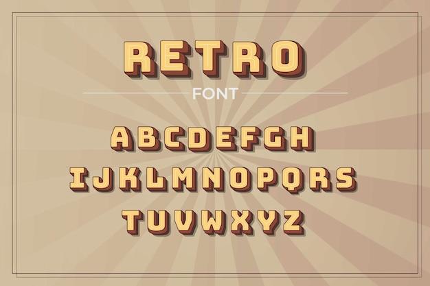 3d-retro alfabet pack Premium Vector