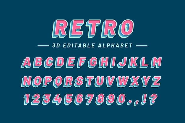 3d retro alfabet Premium Vector