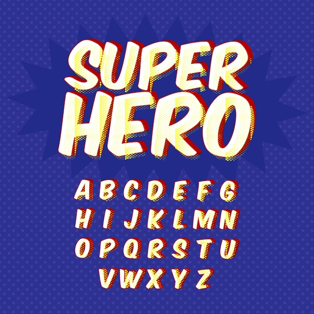 3d retro alfabet Gratis Vector