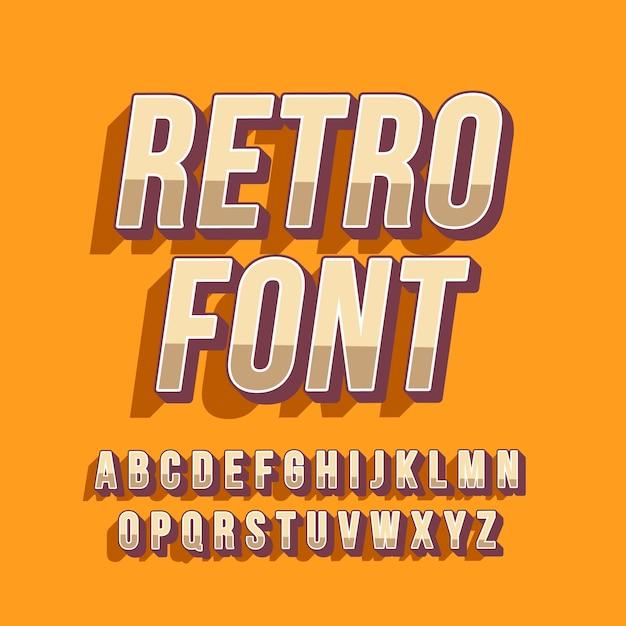 3d-retro alfabetcollectie Gratis Vector