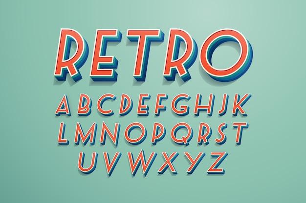 3d-retro alfabetstijl Gratis Vector