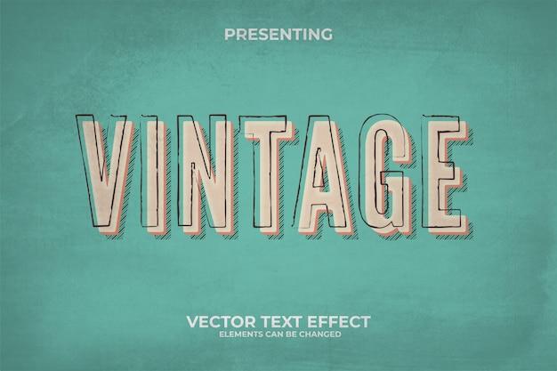 3d retro bewerkbaar teksteffect met grungetextuur Premium Vector