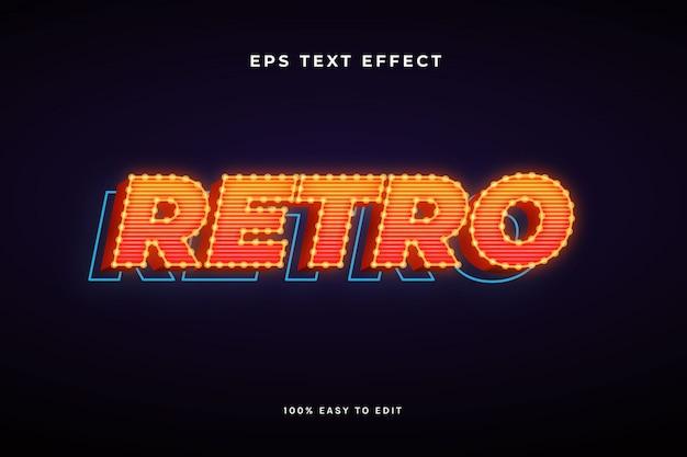 3d-retro met gloeilamp tekst effect Premium Vector