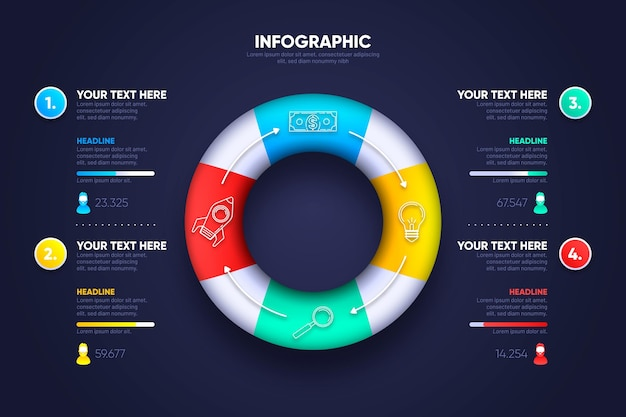3d-ring ontwerp infographic Gratis Vector