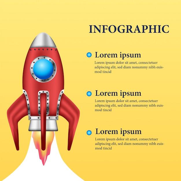 3d rode raketlancering voor inforgaphic Premium Vector