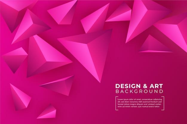3d roze driehoeksachtergrond Gratis Vector