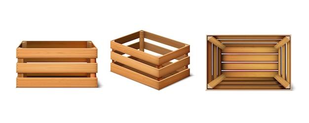 3d-set lading houten kisten Gratis Vector