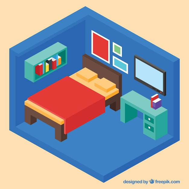 3d slaapkamer interieur vector gratis download for 3d interieur ontwerpen gratis