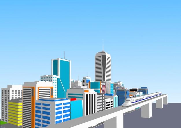 3d-stad met een hogesnelheidstrein Premium Vector