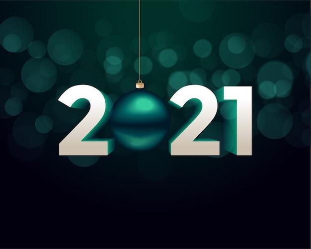3d-stijl 2021 gelukkig nieuwjaar achtergrond met kerst bal Gratis Vector