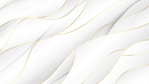 3d-stijl vloeiende witte en gouden golvende achtergrond Gratis Vector