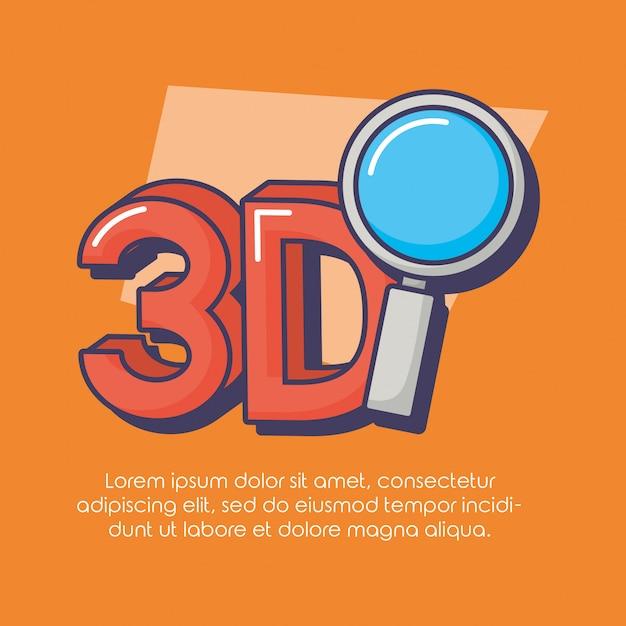 3d-technologie vergrootglas innovatie Premium Vector
