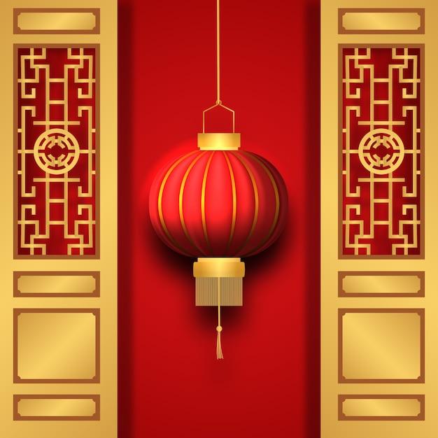 3d traditionele rode lantaarn met deurpoort voor de chinese illustratie van het de kaartconcept van de jaargroet Premium Vector