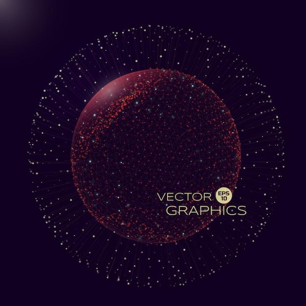 3d van bolvormig object in de ruimte van micro- of macrowereld. geïsoleerd object bestaat uit draadframe en deeltjes met explosie-elementen. Premium Vector