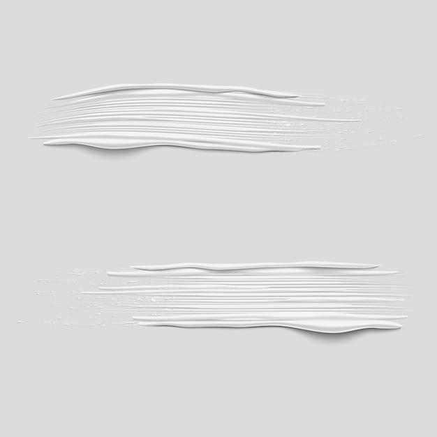 3d-vector witte verf penseelstreken te wijzigen Premium Vector