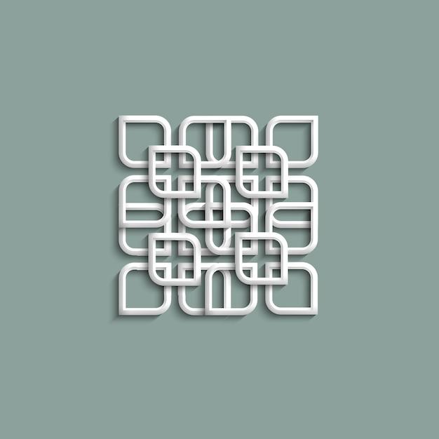 3d wit patroon in arabische stijl Premium Vector