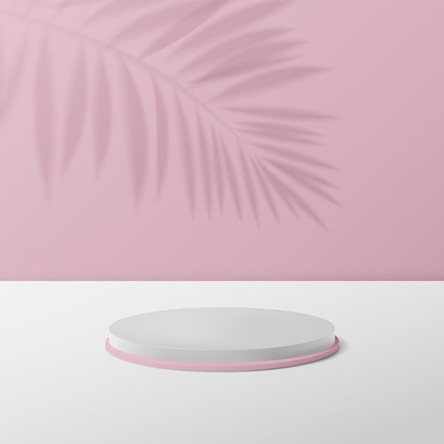 3d-witte en roze cirkel podiumvertoning. Premium Vector