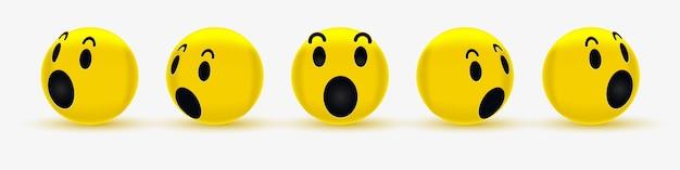 3d wow emoticon-gezichtontwerp voor sociaal netwerk - vragende smiley - verrast emoji, geschokte emoticon Premium Vector