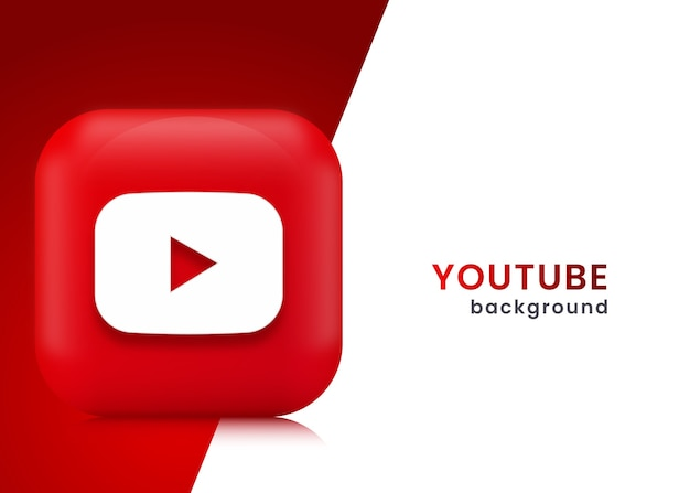 3d you tube achtergrond of banner Premium Vector