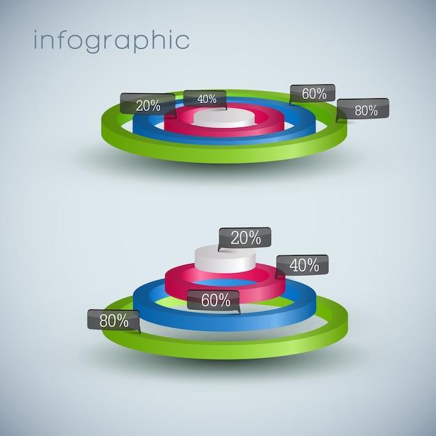 3d-zakelijke diagramsjabloon met tekstvelden en met procentuele verhouding Gratis Vector