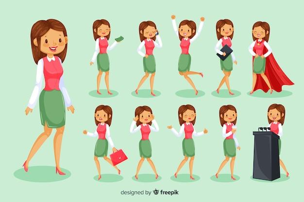 3d zakenvrouw karakter Gratis Vector