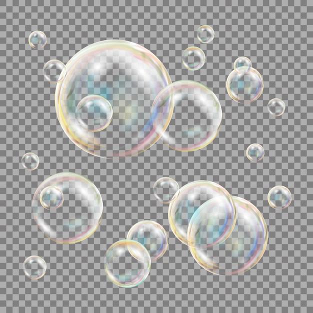 3d-zeepbellen transparant Premium Vector