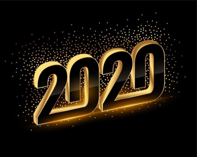 3d zwarte en gouden gelukkige nieuwe jaar 2020 achtergrond Gratis Vector