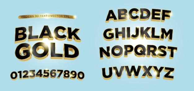 3D zwarte gouden letters alfabet Premium Vector
