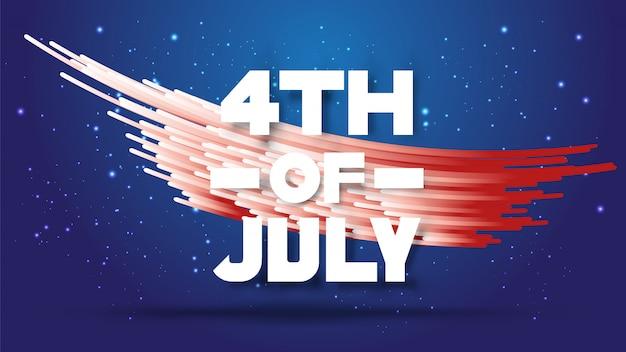 4 juli. abstracte gradiënt witte en rode strepen Premium Vector
