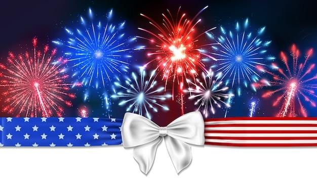 4 juli achtergrond met vuurwerk en een boog met sterren en strepen Premium Vector