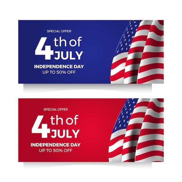 4 juli amerikaanse onafhankelijkheidsdag flyer verkoopaanbieding banner met vlag en ster Premium Vector