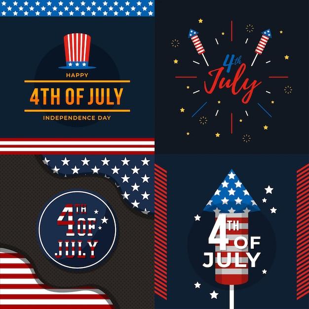 4 juli de onafhankelijke dag Premium Vector